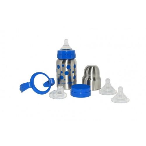 Set évolutif biberon inox bleu 270ml