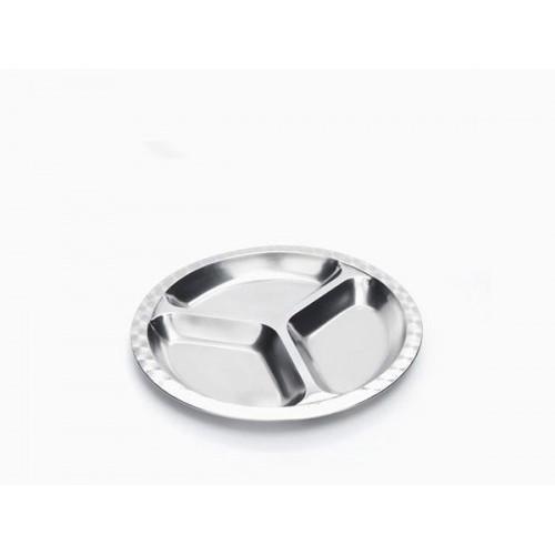 Assiette en trois compartiments inox
