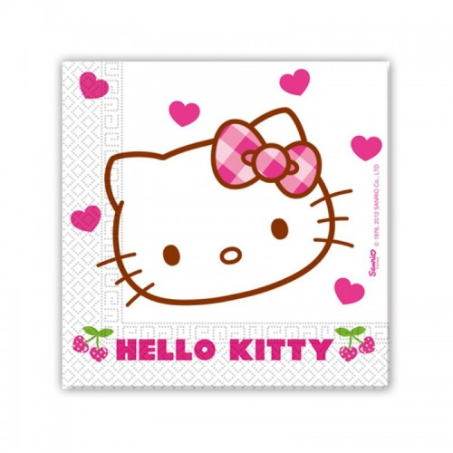 20 serviettes Hello Kitty en papier 33x33cm