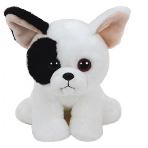 Peluche Mujeek,chien blanc/noir 33cm