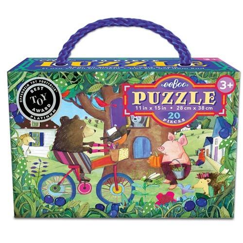 Puzzle 20 pièces, l'ours sur un vélo de Eeboo