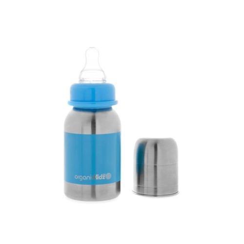 Biberon  à paroi simple en inox 120ml bleu