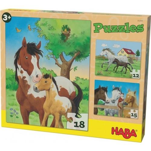 3 Puzzles Chevaux