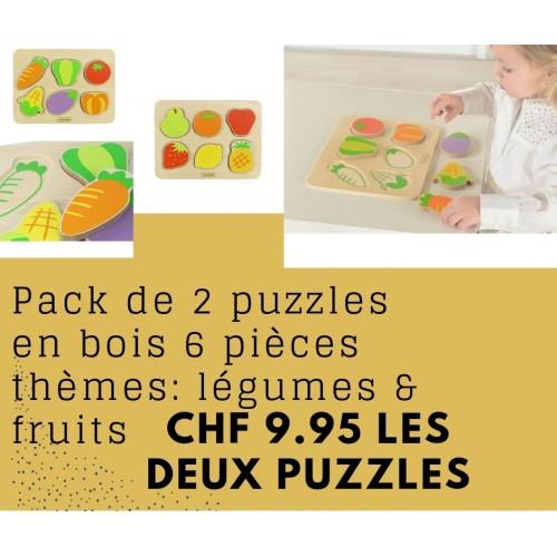 Pack de deux puzzles en bois fruits et légumes