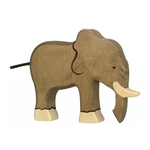 Eléphant en bois peint à la main