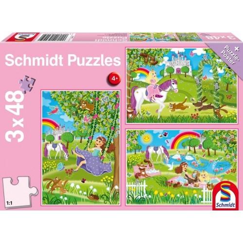 Princesse dans le jardin du château 3 x 48 pièces