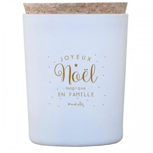 """BOUGIE """"JOYEUX NOËL MAGIQUE EN FAMILLE"""" - ORANGE/CANNELLE"""