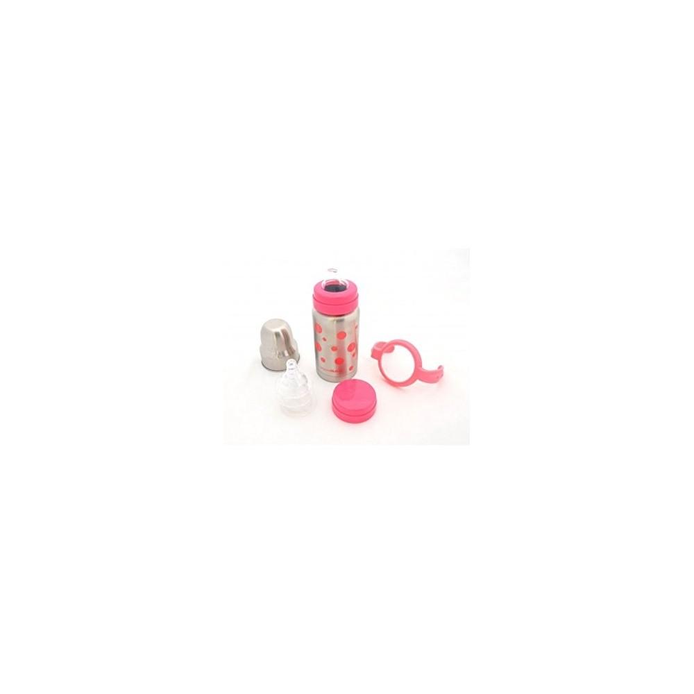 Set biberon isotherme avec tétines et anses rose