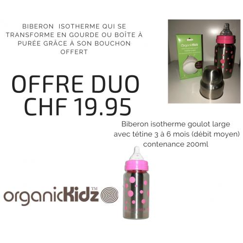 Offre duo biberon isotherme rose et bouchon