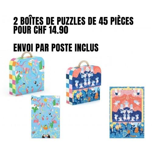 Pack de deux malettes de puzzles Ballerina et Cerfs volants