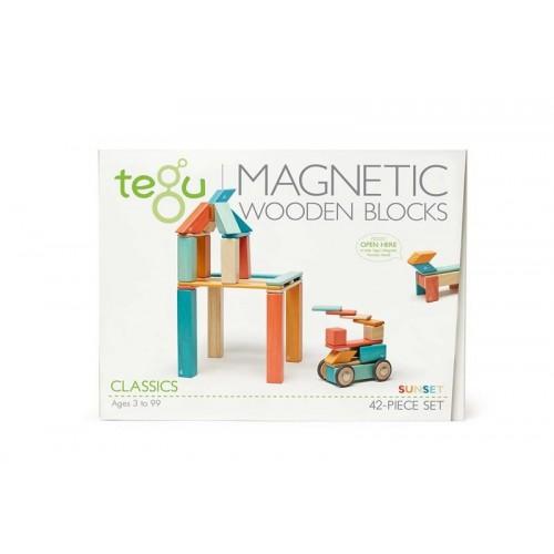 Tegu blocs orange bleu en bois magnétiques 42 pièces